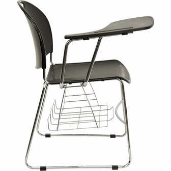Black Plastic Chair With Right Handed Flip Up Tablet Arm And Chrome Frame RU