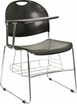Black Plastic Chair with Right Handed Flip-Up Tablet Arm and Chrome Frame [RUT-NC188-03C-04A-RT-GG]