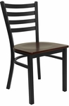Black Ladder Back Metal Restaurant Chair with Mahogany Wood Seat [BFDH-6147LADMW-TDR]