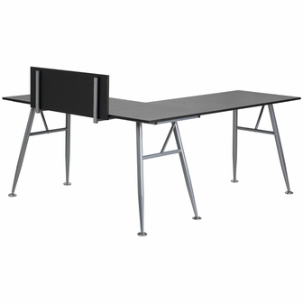 Black Laminate L-Shape Computer Desk with Silver Frame Finish, NAN ...