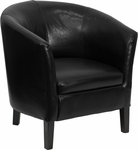Black Leather Barrel Shaped Guest Chair [GO-S-11-BK-BARREL-GG]