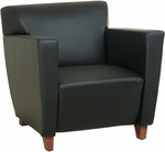 OSP Furniture Leather Club Chair with Cherry Finish - Black [SL8471-FS-OS]