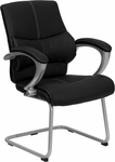 Black Leather Executive Side Reception Chair with Silver Sled Base [H-9637L-3-SIDE-GG]