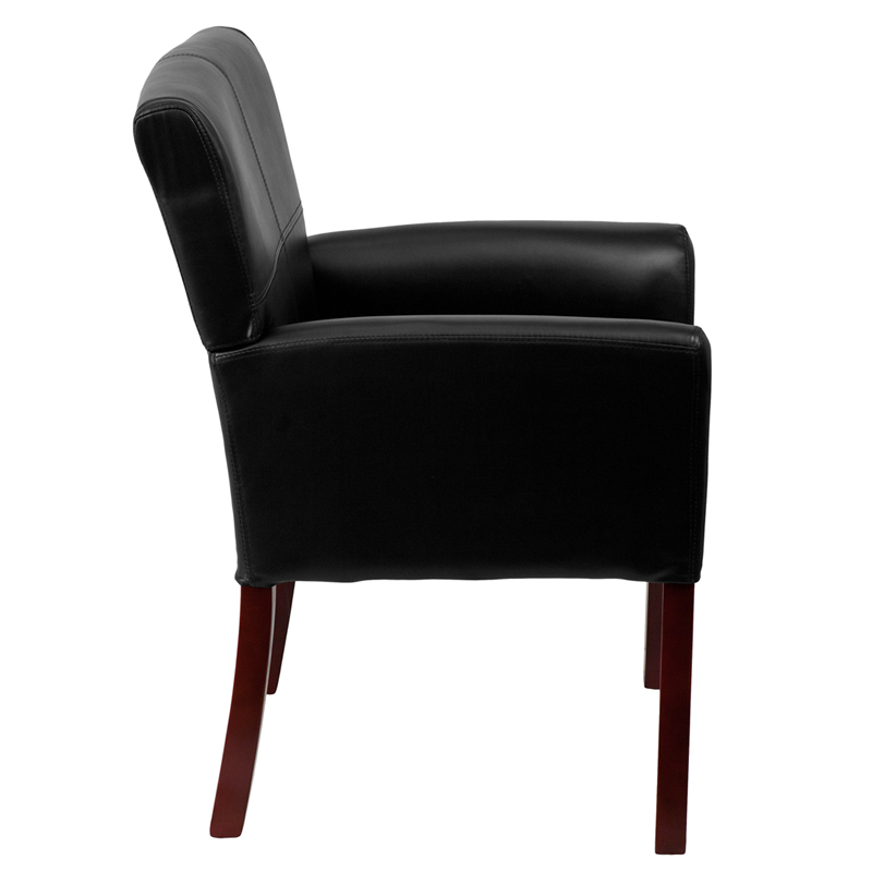 Furniture Legs San Diego black leather executive side reception chair with mahogany legs