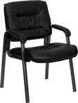 Black Leather Executive Side Reception Chair with Titanium Frame Finish [BT-1404-BKGY-GG]