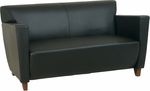 OSP Furniture Leather Love Seat with Cherry Finish - Black [SL8472-FS-OS]