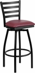 Black Metal Ladder Back Restaurant Barstool with Burgundy Vinyl Swivel Seat [BFDH-706688LAD-BY-BAR-TDR]