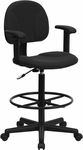 Black Patterned Fabric Drafting Chair with Adjustable Arms (Cylinders: 22.5''-27''H or 26''-30.5''H) [BT-659-BLK-ARMS-GG]