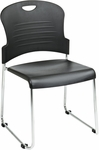 Work Smart Chrome Frame Stack Chair with Sled Base with Plastic Seat and Back - Set of 2 - Black [STC866C2-3-OS]