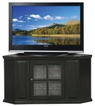 Riley Holliday 46.75''W x 24.25''H Solid Hardwood Corner TV Stand with Glass Door and Adjustable Center Shelf - Black [83285-FS-LCK]