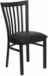 Black School House Back Metal Restaurant Chair with Black Vinyl Seat [BFDH-87BKHCS-TDR]