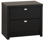 Series 9 Designer 2 Drawer 22''H Nightstand with Metal Pulls - Black [BDNR-0520-1-FS-PP]