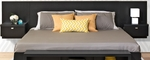 Series 9 Designer Floating King Size Headboard with Attached Nightstands - Black [BHHK-0520-2K-FS-PP]