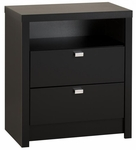 Series 9 Designer 2 Drawer 28''H Nightstand with Metal Pulls - Black [BDNH-0529-1-FS-PP]