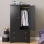 Sonoma 2 Door 58.75''H Armoire with Solid Metal Knobs - Black [BDC-3359-K-FS-PP]