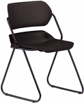 Martisa Armless Plastic Stack Chair - Black Seat with Black Frame [202-BLK-BLK-MFO]