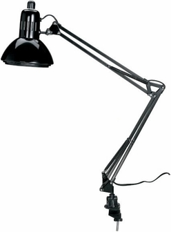 black swingarm lamp with spring balanced arm and two way mounting clamp g2540bfsalv - Swing Arm Lamp