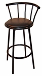 38.5''H Powder Coated Steel Black Swivel Bar Stool with Footring and Padded Vinyl Seat [162001-MES]