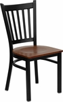 Black Vertical Back Metal Restaurant Chair with Cherry Wood Seat [BFDH-88398CWTRV-TDR]