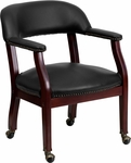 Black Vinyl Luxurious Conference Chair with Casters [B-Z100-BLACK-GG]