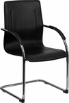 Black Vinyl Side Reception Chair with Chrome Sled Base [BT-509-BK-GG]