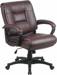 Work Smart Deluxe Mid Back Executive Glove Soft Leather Chair with Padded Loop Arms - Burgundy [EX5161-4-FS-OS]