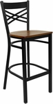 Black ''X'' Back Metal Restaurant Barstool with Cherry Wood Seat [BFDH-6147CWBAR-TDR]
