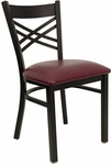 Black ''X'' Back Metal Restaurant Chair with Burgundy Vinyl Seat [BFDH-6147BY-TDR]