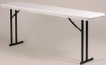 Standard Fixed Height Blow-Molded Plastic Top Rectangular Folding Table - 18''D x 72''W [R1872-CRL]