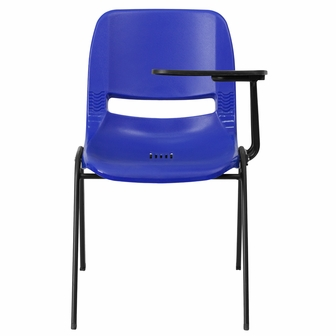 Blue Ergonomic Shell Chair With Left Handed Flip Up Tablet Arm RUT EO1 BL LT