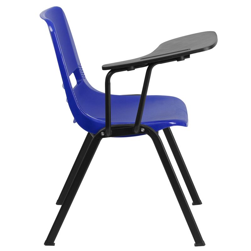 blue ergonomic shell chair with right handed flip up tablet arm rut eo1 bl rtab gg by flash. Black Bedroom Furniture Sets. Home Design Ideas