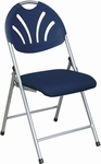 Work Smart Plastic Folding Chair with Fan Back and Padded Mesh Seat - Set of 4 - Blue with Silver Frame [FC8100NS-7-OS]