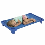 Blue Ready to Assemble Toddler Stackable Streamline Cots - 40''D x 23''W x 5''H [ELR-16120-ECR]