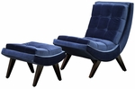 Blue Velvet Tufted Occasional Chair & Ottoman [876S351S-3A-FS-HOM]