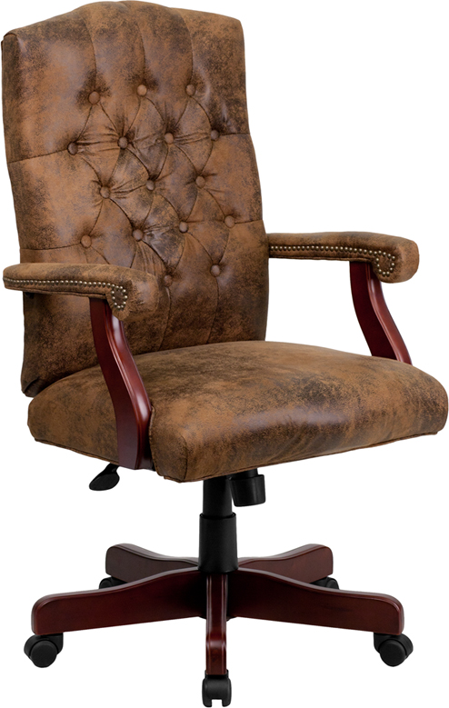 bomber brown classic executive swivel chair with arms, 802-brn-gg