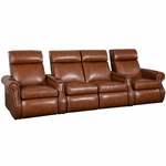 Bradford Four Seater Home Theater - Straight Arm in Bonded Leather [510-BRADFORD-S4-FS-LTS]