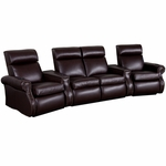 Bradford Four Seater Home Theater - Wedge Arm in Top Grain Leather with Leather Match [520-BRADFORD-W4-FS-LTS]