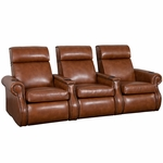 Bradford Three Seater Home Theater - Straight Arm in Bonded Leather [510-BRADFORD-S3-FS-LTS]