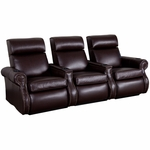 Bradford Three Seater Home Theater - Straight Arm in Top Grain Leather with Leather Match [520-BRADFORD-S3-FS-LTS]