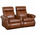 Bradford Two Seater Home Theater - Straight Arm in Bonded Leather [510-BRADFORD-S2-FS-LTS]
