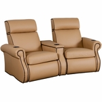 Bradford Two Seater Home Theater - Wedge Arm in Top Grain Leather [530-BRADFORD-W2-FS-LTS]