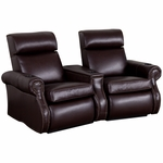 Bradford Two Seater Home Theater - Wedge Arm in Top Grain Leather with Leather Match [520-BRADFORD-W2-FS-LTS]