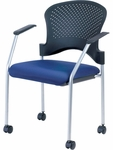 Breeze 25'' W x 21'' D x 33.75'' H Side Chair with Casters - Fabrix with Gray Frame [FS8270-FAB-FS-EURO]
