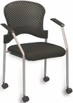 Breeze 25'' W x 21'' D x 33.75'' H Side Chair with Casters - Black with Gray Frame [FS8270-FS-EURO]
