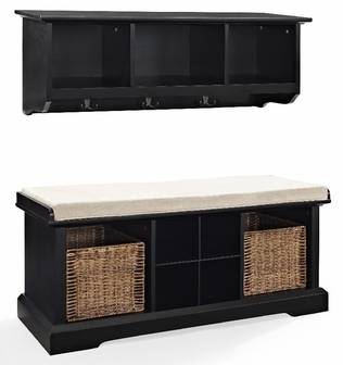 brennan 2 piece entryway bench and shelf set in black. Black Bedroom Furniture Sets. Home Design Ideas
