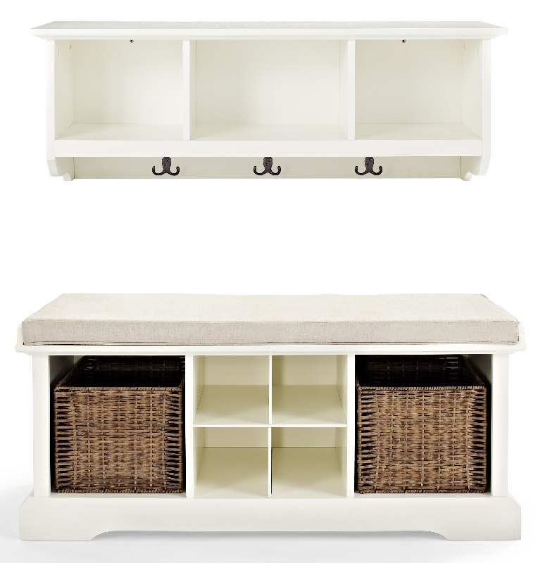 brennan 2 piece entryway bench and shelf set in white. Black Bedroom Furniture Sets. Home Design Ideas