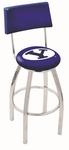 Brigham Young University 25'' Chrome Finish Swivel Counter Height Stool with Cushioned Back [L8C425BRIGYN-FS-HOB]
