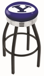 Brigham Young University 25'' Black Wrinkle Finish Swivel Backless Counter Height Stool with Ribbed Accent Ring [L8B3C25BRIGYN-FS-HOB]