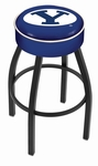 Brigham Young University 25'' Black Wrinkle Finish Swivel Backless Counter Height Stool with 4'' Thick Seat [L8B125BRIGYN-FS-HOB]