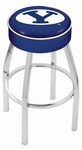 Brigham Young University 25'' Chrome Finish Swivel Backless Counter Height Stool with 4'' Thick Seat [L8C125BRIGYN-FS-HOB]